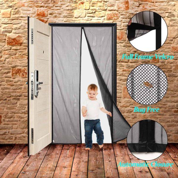 Finnhomy Magnetic Screen Door Hand Free Mesh Curtain, Heavy Duty Mesh & Full F.. 2