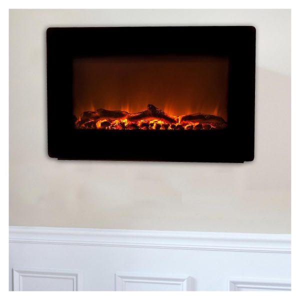 Fire Sense Black Wall Mounted Electric Fireplace 2