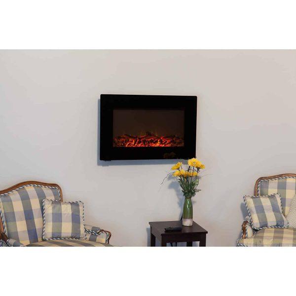 Fire Sense Black Wall Mounted Electric Fireplace 4