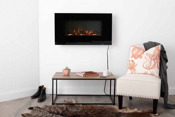 "Fire Sense Wall Mount Electric Fireplace, Black, 36"" 13"