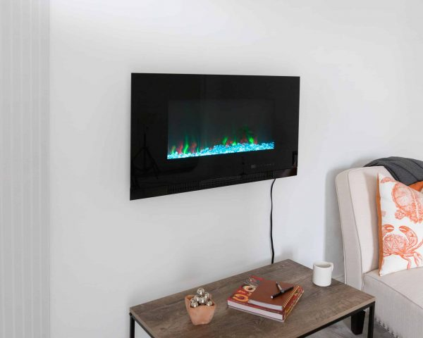 "Fire Sense Wall Mount Electric Fireplace, Black, 36"" 14"