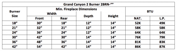 "Fireplace Burner Grand Canyon 2 Burner Front View 21"" FCP2BRN-21 - 1"