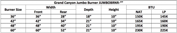 "Fireplace Burner Grand Canyon Jumbo Burner Front View 60"" FCPJUMBOBRNR-60 - 1"