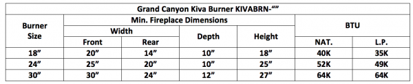 "Fireplace Burner Grand Canyon Kiva Burner 30"" KIVABRN-30 1"