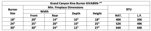 "Fireplace Burner Grand Canyon Kiva Burner 30"" KIVABRN-30 1"