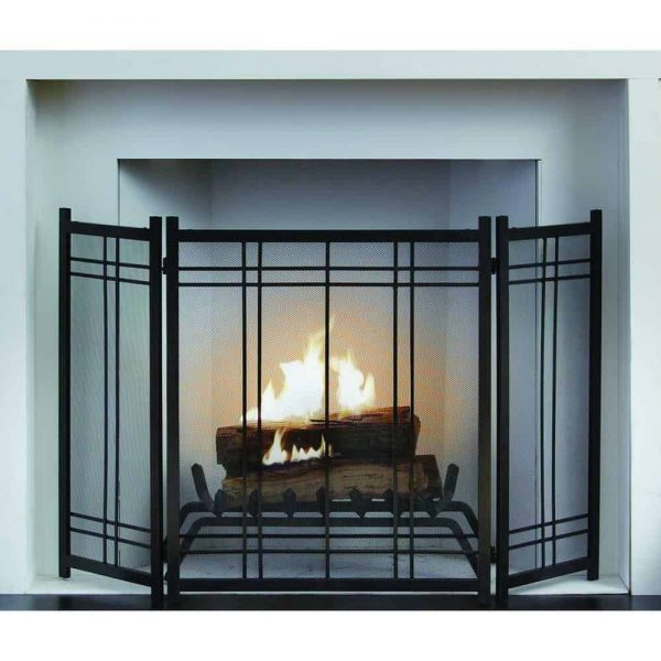 """Fireplace Screen Protection Vintage Style Steel 3 Panel Handles 52"""" L x 31"""" H 1"""