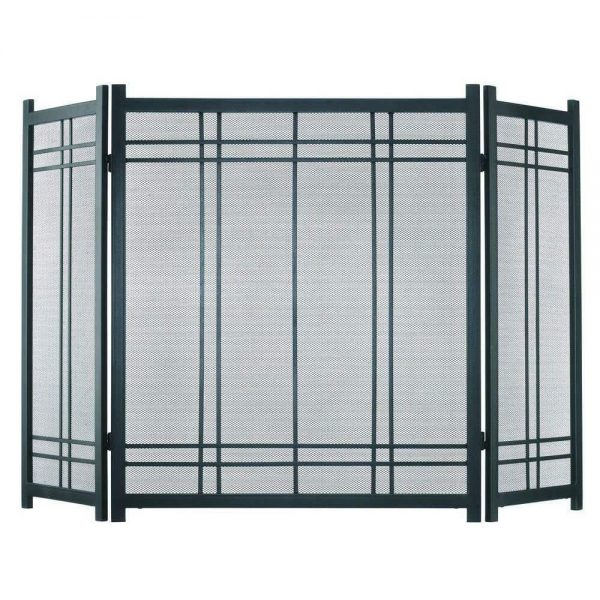 """Fireplace Screen Protection Vintage Style Steel 3 Panel Handles 52"""" L x 31"""" H"""