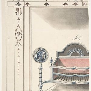 Fireplace and Grate Design with Sunflower Andirons Poster Print by Anonymous British 19th century (18 x 24)