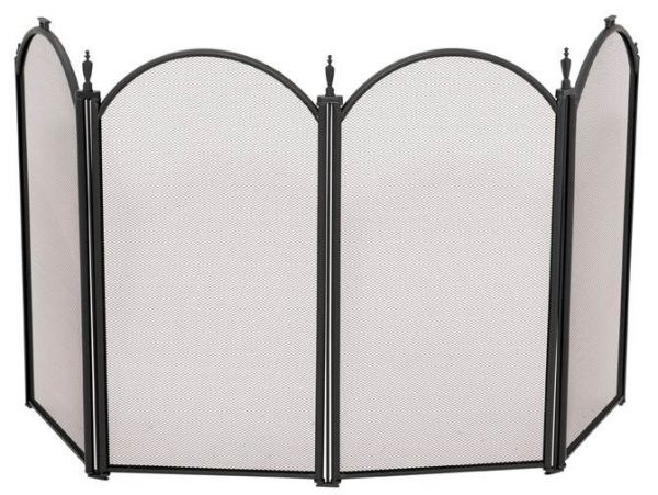 Four Fold Mini Black Fireplace Screen With Decorative Spires