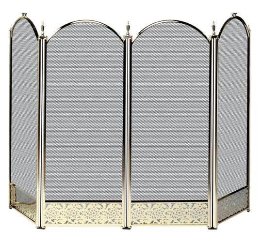 Four Fold Polished Brass Fireplace Screen - Filigree Designs