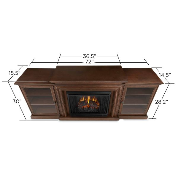 Frederick Entertainment Center Electric Fireplace in Chestnut Oak by Real Flame 2