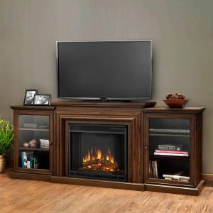 Frederick Entertainment Center Electric Fireplace in Chestnut Oak by Real Flame