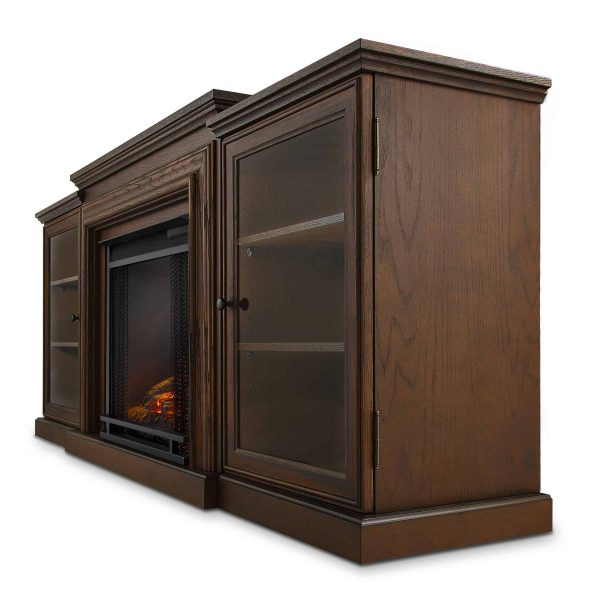 Frederick Entertainment Center Electric Fireplace in Chestnut Oak by Real Flame 4