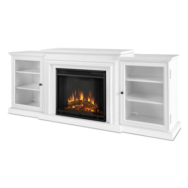Frederick Entertainment Center Electric Fireplace in White by Real Flame 1