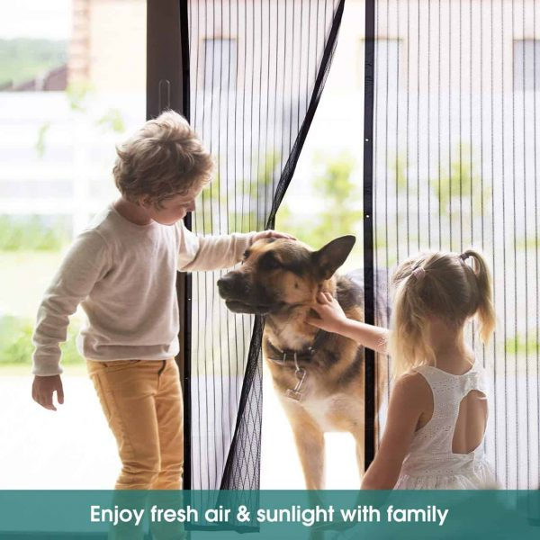 GLiving Magnetic Screen Door, Full Frame Seal, Heavy Duty Mesh Curtain Screen Doors with Magnets, Black 3