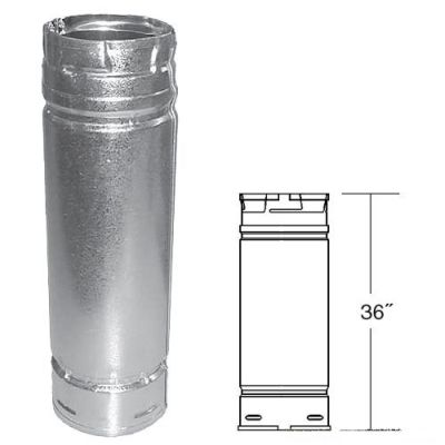 """Galvalume Pellet Stove Chimney Pipe - 3"""" x 36"""""""