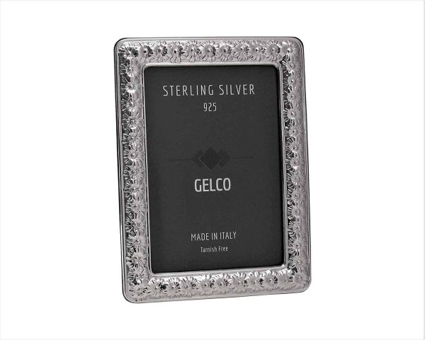 Gelco Italian 925 Sterling Silver Hand Embossed Daisy Picture Frame (9x13)