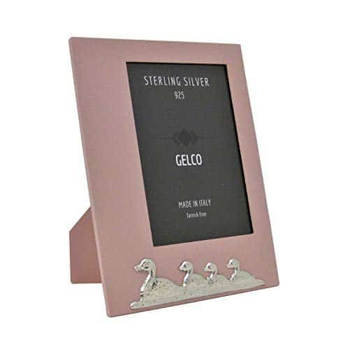 Gelco Italian 925 Sterling Silver & Pink Wood Ducks Picture Frame (5x7)