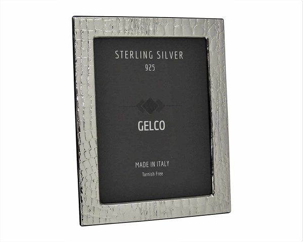 Gelco Italian 925 Sterling Silver & Wooden Leather Design Picture Frame (5x7)