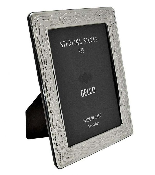 Gelco Italian 925 Sterling Silver & Wooden Texture Design Picture Frame (4x6)