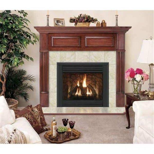 Geneva R Flush Fireplace Mantel in Medium English Chestnut
