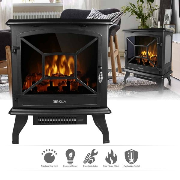 "Geniqua 20"" Electric Fireplace Heater Freestanding Log Wood Fire LED Flame Warm Stove 1"