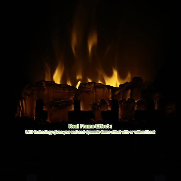 "Geniqua 20"" Electric Fireplace Heater Freestanding Log Wood Fire LED Flame Warm Stove 2"