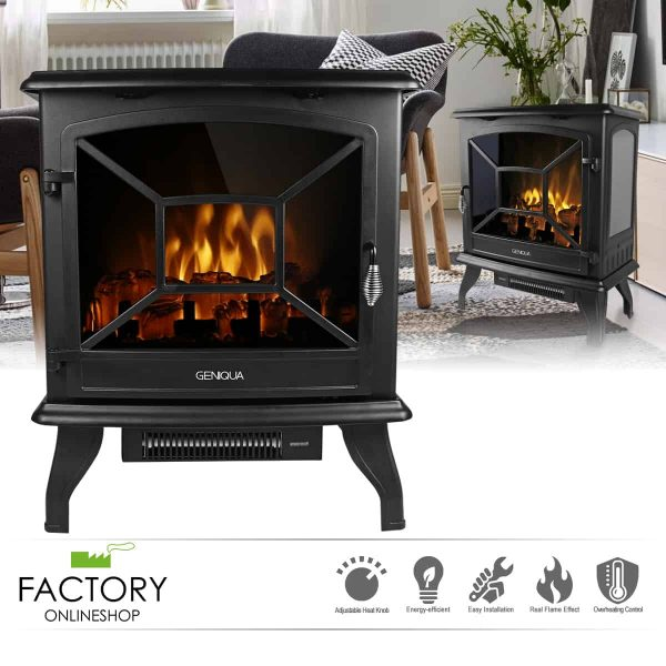 "Geniqua 20"" Electric Fireplace Heater Freestanding Log Wood Fire LED Flame Warm Stove"