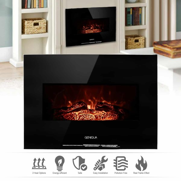 """Geniqua 26"""" Heater Wall Mount 1400W Electric Fireplace Heat Log LED Back Flame Indoor 1"""