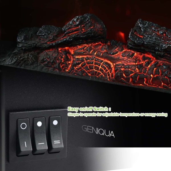 """Geniqua 26"""" Heater Wall Mount 1400W Electric Fireplace Heat Log LED Back Flame Indoor 3"""