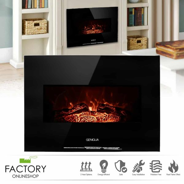 """Geniqua 26"""" Heater Wall Mount 1400W Electric Fireplace Heat Log LED Back Flame Indoor"""