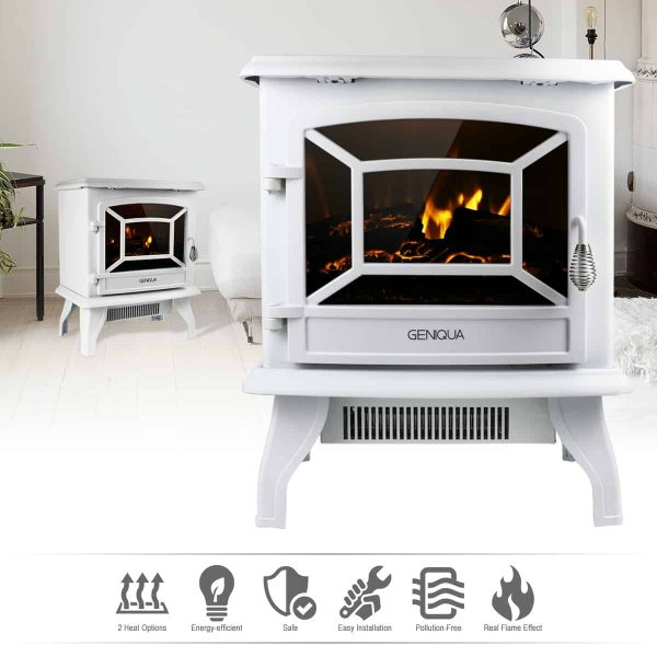 "Geniqua White 17"" Electric Fireplace Heater Freestanding Wood Fire LED Flame Warm Stove 1"