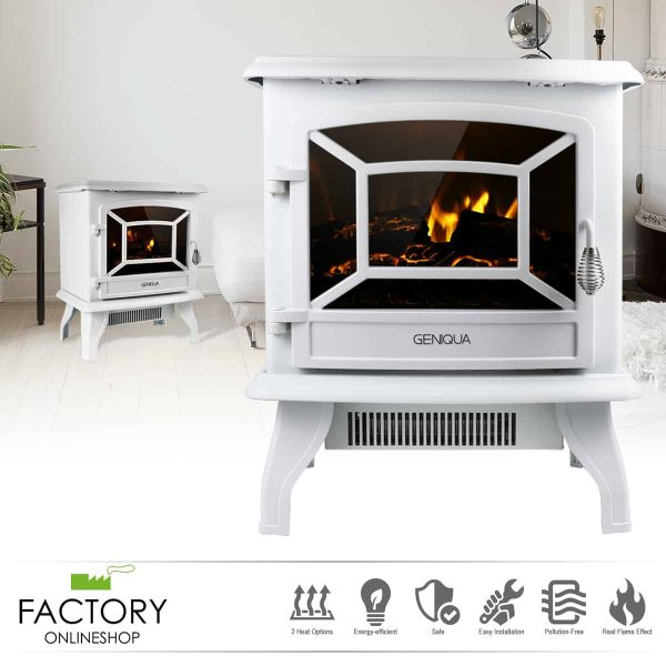 "Geniqua White 17"" Electric Fireplace Heater Freestanding Wood Fire LED Flame Warm Stove"