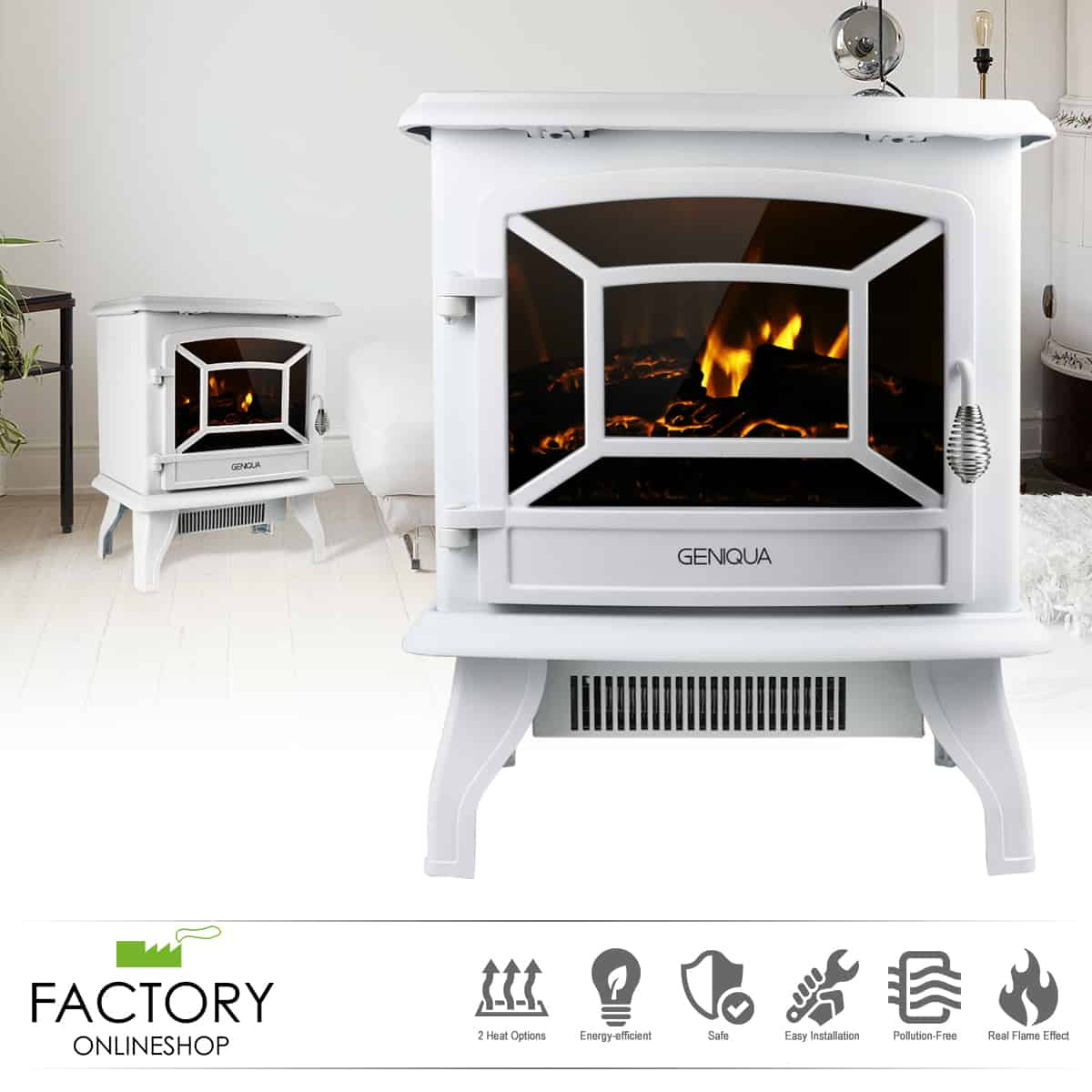 Geniqua White 17 Electric Fireplace Heater Freestanding Wood Fire Led Flame Warm Stove Fireplacess Com