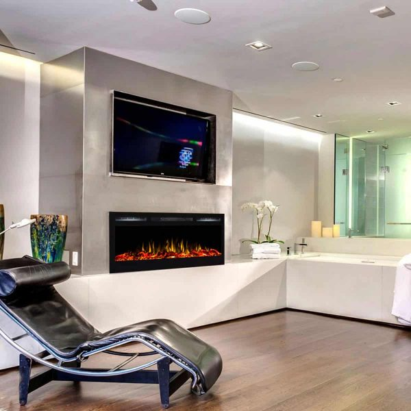 Gibson Living LW2035WL-GL 36 in. Madison Logs Recessed Wall Mounted Electric Fireplace 3