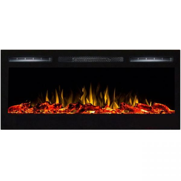 Gibson Living LW2035WL-GL 36 in. Madison Logs Recessed Wall Mounted Electric Fireplace