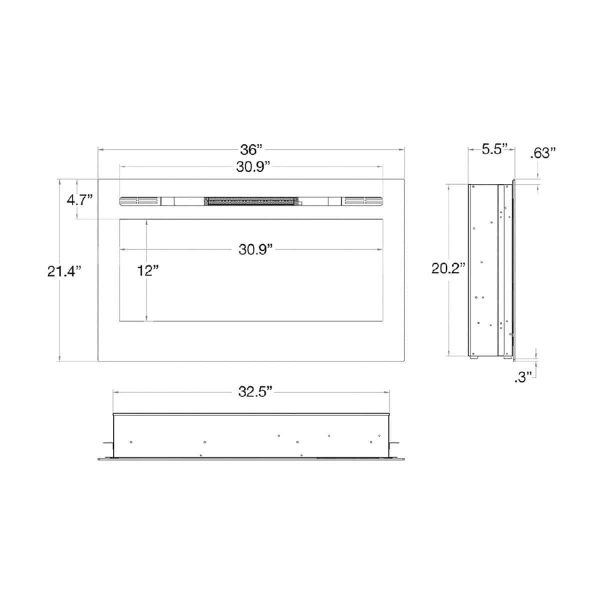 Gibson Living LW2035WS-GL 36 in. GL2036WS Madison Pebbles Recessed Wall Mounted Electric Fireplace 5
