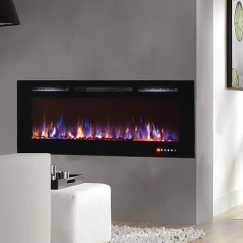 Gibson Living LW2060MC-GL 60 in. Bombay Crystal Recessed Touch Screen Wall Mounted Electric Fireplace, Multi Color 1