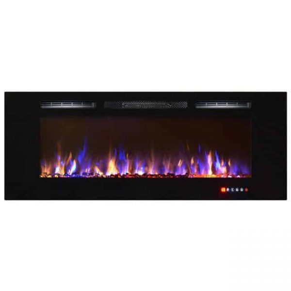 Gibson Living LW2060MC-GL 60 in. Bombay Crystal Recessed Touch Screen Wall Mounted Electric Fireplace