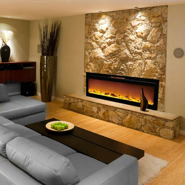 Gibson Living LW2060WL-GL 60 in. GL2060WL Reno Log Built in Recessed Wall Mounted Electric Fireplace 1