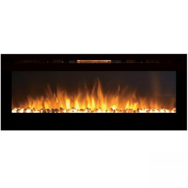 Gibson Living LW2060WS-GL 60 in. GL2060WS Reno Pebble Built in Recessed Wall Mounted Electric Fireplace