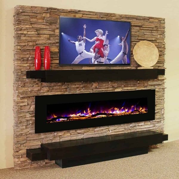 Gibson Living LW5072LE-GL 72 in. GL5072LE Oakland Log Linear Wall Mounted Electric Fireplace 5
