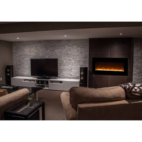 Gibson Living LW5075BK-GL 50 in. GL5050CE Lawrence Crystal Electric Wall Mounted Fireplace, Black 3