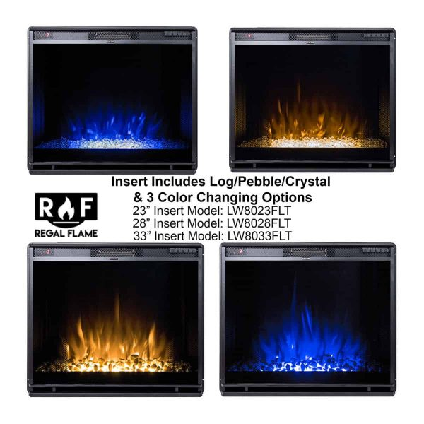 Gibson Living LW8033FLT-GL 33 in. Flat Ventless Heater Electric Fireplace Insert, Black Frame 1