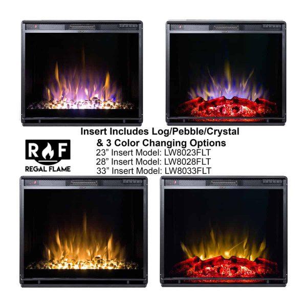 Gibson Living LW8033FLT-GL 33 in. Flat Ventless Heater Electric Fireplace Insert, Black Frame 2