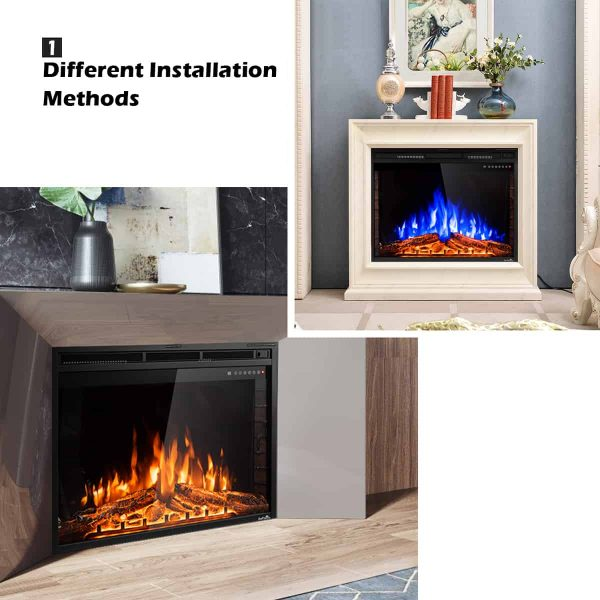 GoFlame 36'' 750W-1500W Fireplace Heater Electric Embedded Insert Timer Flame Remote 2