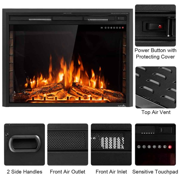 GoFlame 36'' 750W-1500W Fireplace Heater Electric Embedded Insert Timer Flame Remote 3