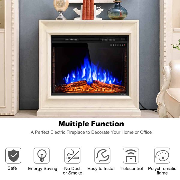 GoFlame 36'' 750W-1500W Fireplace Heater Electric Embedded Insert Timer Flame Remote 5