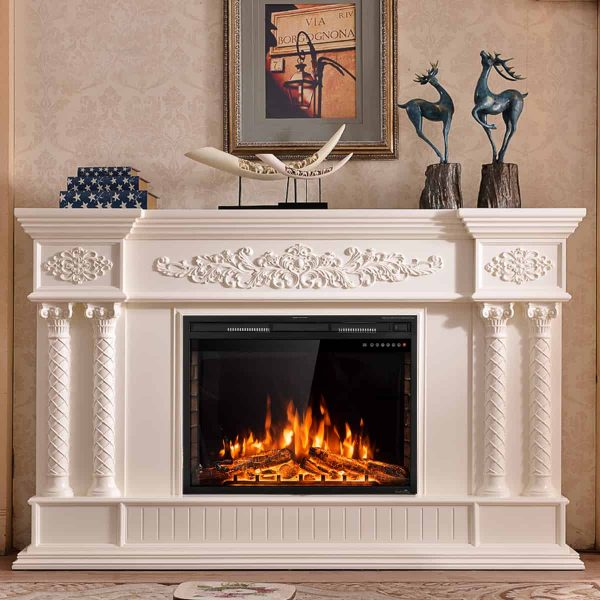 GoFlame 36'' 750W-1500W Fireplace Heater Electric Embedded Insert Timer Flame Remote 6