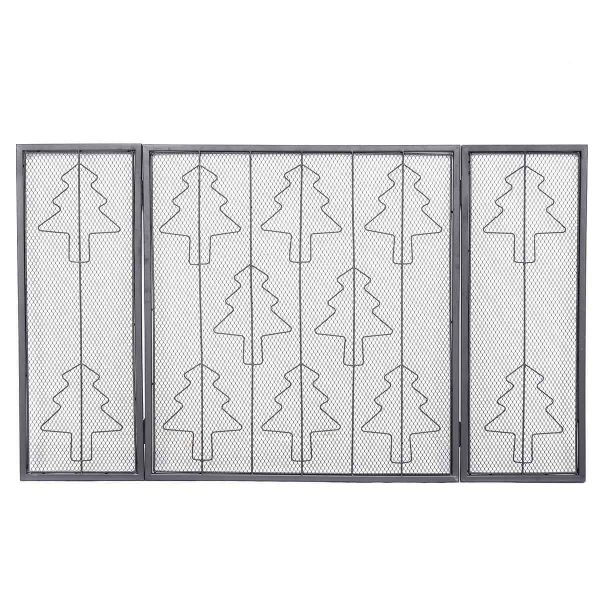 Goplus Folding 3 Panel Steel Fireplace Screen Doors Heavy Duty Christmas Tree Decor 2